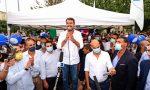 """Salvini a Venaria dopo il post """"Appeso"""" del candidato dem: """"Il ragazzo è perdonato"""""""