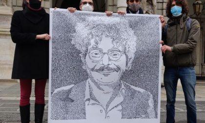Il volto di Patrick Zaki sulla facciata di Palazzo Civico