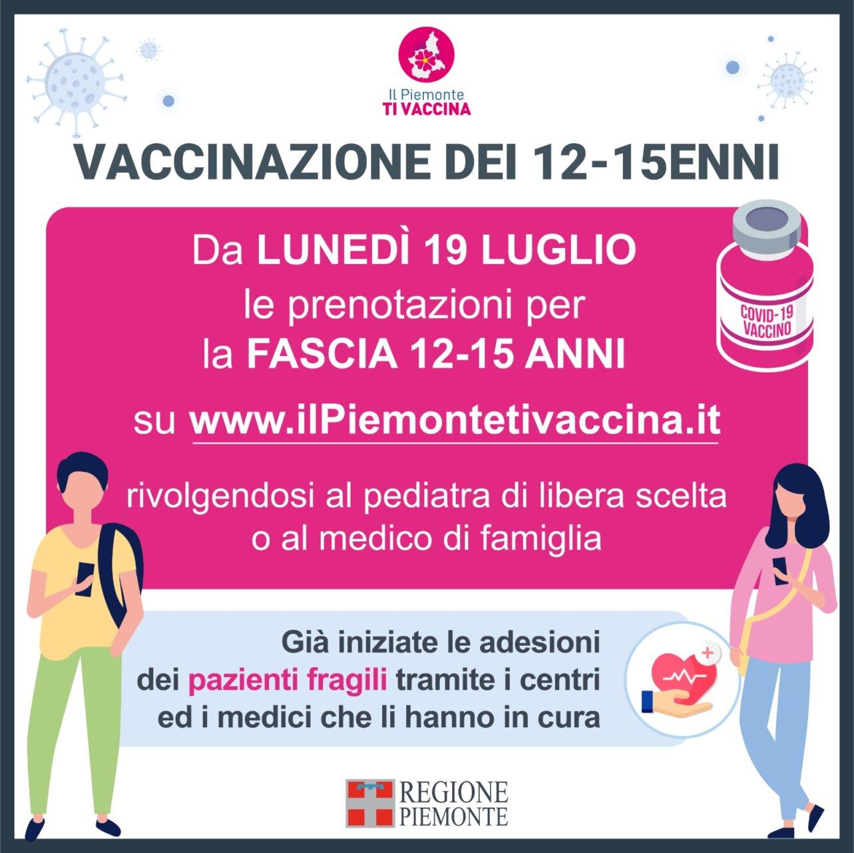 Vaccinazioni 12-15enni piemonte